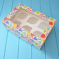 Коробка на 6 капкейков (яркие сердечки)