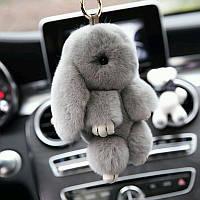 Меховой брелок-кролик. Оригинальный брелок на сумку, ключи, в машину.
