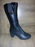 Сапожки зимние женские на меху средний удобный каблук