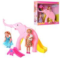 Кукла DEFA 8277 2 шт (10см, 13см), горки 2 шт, мишка, 2 вида, в коробке, 28-24,5-8см