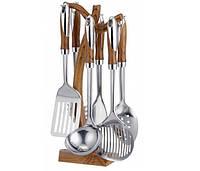 Кухонный набор 7 предметов Frico FRU-582, нержавеющая сталь, пластик, оригинальная подставка с крюками