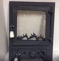 """Печные дверцы со стеклом """" Уголок """",дверки для печи"""