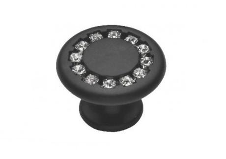 Ручка меблева Ozkardesler DUZ DUGME 6058-012 Матовий Чорний з камінням