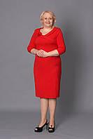 Нарядное платье больших размеров в красном цвете