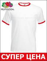 Мужская Футболка c Цветной Окантовкой Fruit of the loom Белый/Красный 61-168-Wm M, фото 3