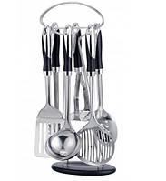 Набор кухонных принадлежностей из нержавеющей стали Frico FRU-581, 7 предметов, подставка с крючками