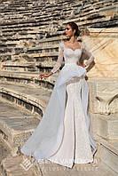 Шикарное свадебное платье силуэта русалка с модной прицепной юбкой