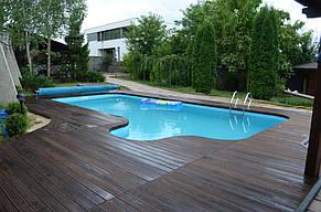 Монтаж Террасной доски из Термоясеня вокруг басейна 5