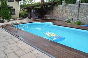 Монтаж Террасной доски из Термоясеня вокруг басейна 7