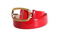 Качественный женский ремень лаковый под джинсы красный