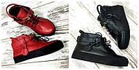 Женские натуральные кроссовки красные и черные с замочком