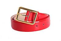 Ремень для женщин кожаный красного цвета