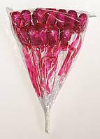 Сердце на палочке с блестками и бантиком | Малиновый (В упаковке 12 шт.)
