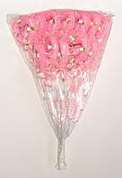 Полое сердце на палочке с блестками, розочками и бантиком | Розовый (В упаковке 12 шт.)