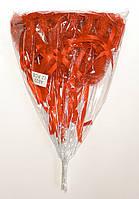 Полое сердце на палочке с блестками, рюшами и бантиком | Красный (В упаковке 12 шт.)