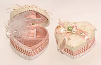 Шкатулка для украшений в форме сердечка с бантиком