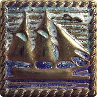 Декоративная плитка. Латунь покрытая эмалью. Frigate (5x5).