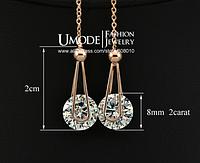 Серьги- цепочки, 18К золото + цирконий бриллиантовая огранка