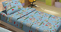 Качественное детское постельное бельё 100х150см DOGI ГОЛУБОЙ LT14