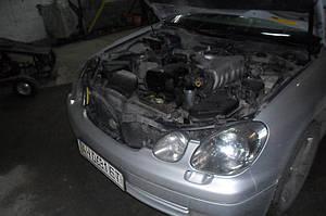 Установка биксеноновых линз G5 с ребристыми масками с глазами на Lexus GS300 2