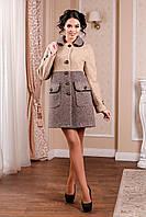 Красивое женское пальто свободного кроя в 3х цветах В-1002