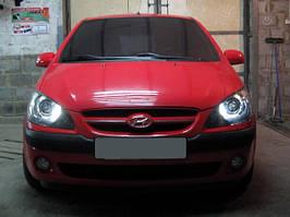 Установка биксеноновых линз G5 с глазами на Hyundai Getz 3