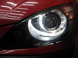Установка биксеноновых линз G5 с глазами на Hyundai Getz 4