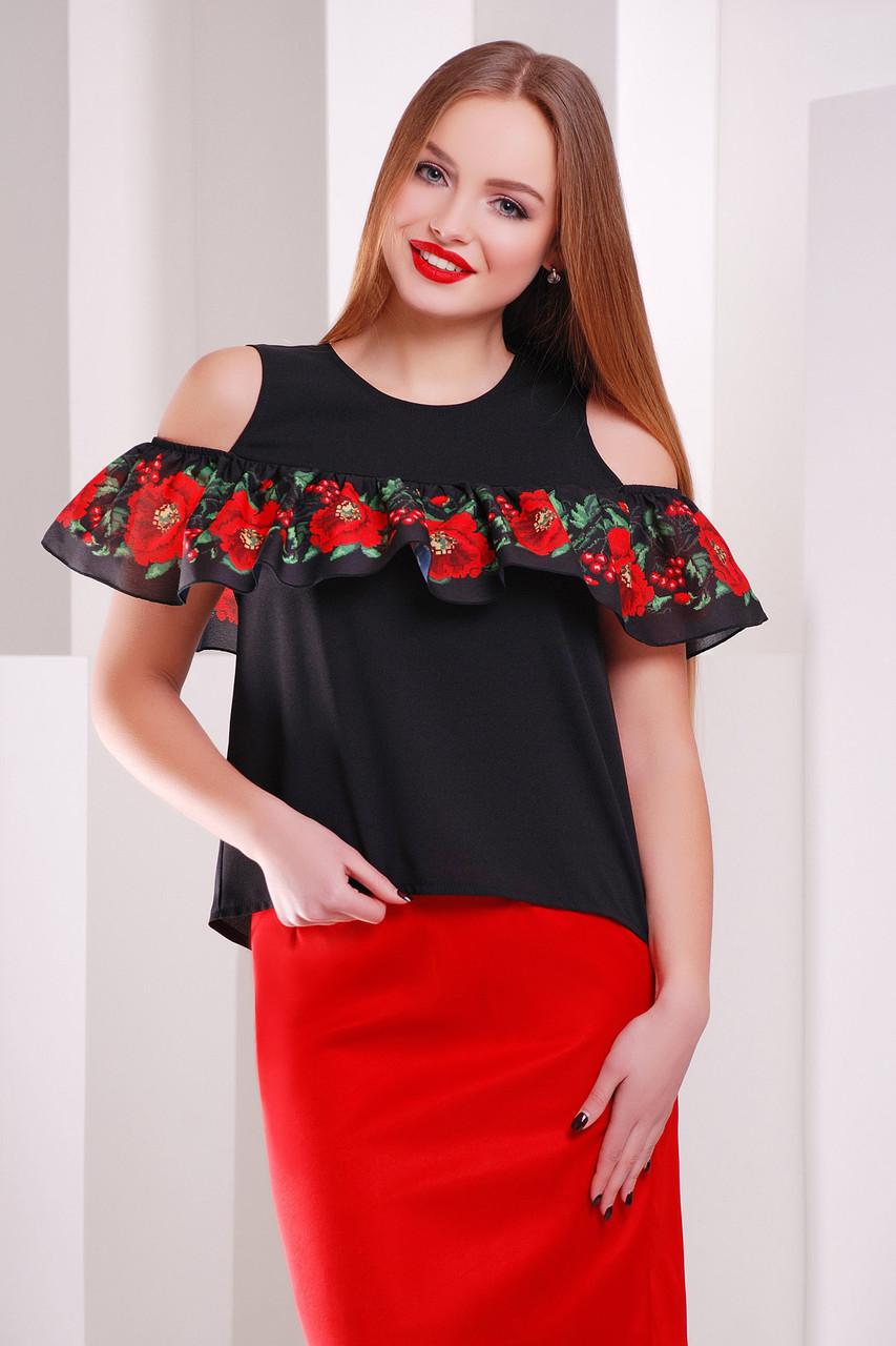 Черная женская блузка с принтованным воланом Маки-калина блуза Марелина б/р
