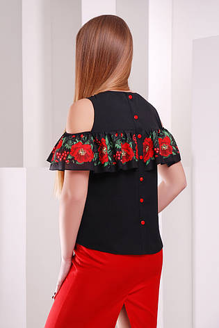 Черная женская блузка с принтованным воланом Маки-калина блуза Марелина б/р, фото 2