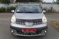 Дефлектор капота (мухобойка) Nissan Note 2006-2009, на крепежах
