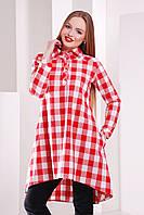 Клетчатое платье-рубашка с удлиненной спинкой сукня-сорочка Танзана д/р