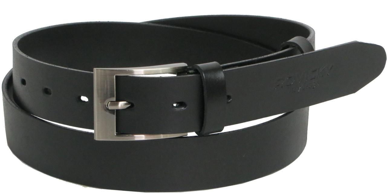 Брючный мужской кожаный ремень Rovicky PLW-R-1 черный ДхШ: 111-131х3 см.