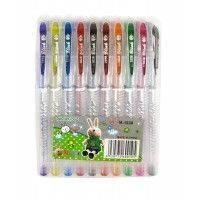 Ручки в наборе 10цв. FEIFEI гелевые с блестками M-1038