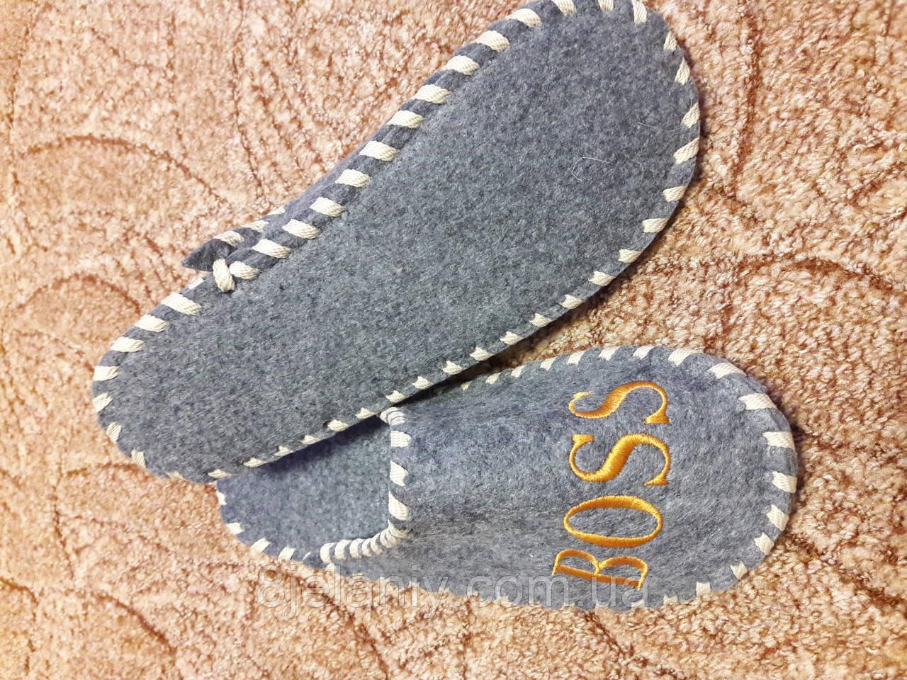 Тапочки войлочные для бани и сауны серые