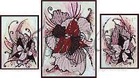 Схема для вышивки бисером Триптих Абстракция цветы. КМРТ 1003