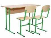 Стол ученический 2-местный без полки БЮДЖЕТ (столешница с прямыми углами) + 2 Стулья Т-образных, 20171+2х0228