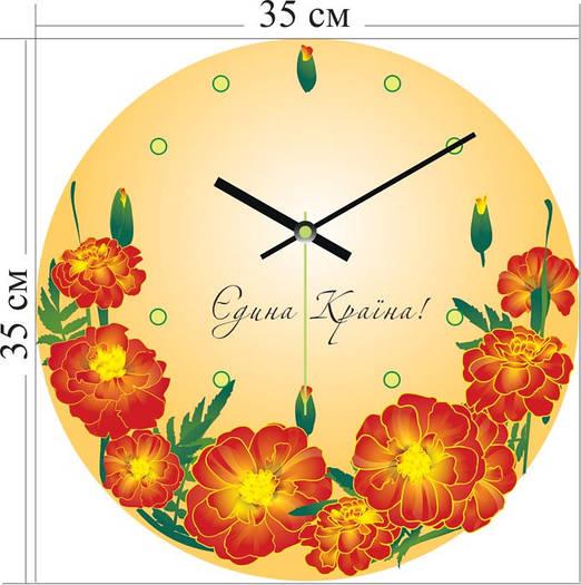 """Настенные часы """"Украинские цветы"""" (35х35 см) [Акрил, Открытые]"""