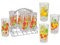 Набор 6 стаканов на стойке (Фрукты) арт. 7210