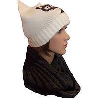 Женская вязаная зимняя шапка - кошка и вязаный шарф - снуд