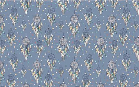 """Польская хлопковая ткань """"ловцы снов на синем"""", фото 2"""