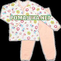 Детская плотная пижама для девочки р. 104 демисезонная ткань ИНТЕРЛОК 100% хлопок 3374 Персиковый