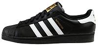 Мужские кроссовки Adidas Superstar Black and White (Адидас Суперстар) черные
