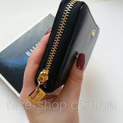 Кожаный кошелёк черный гладкий на змейке, фурнитура-под золото, фото 3