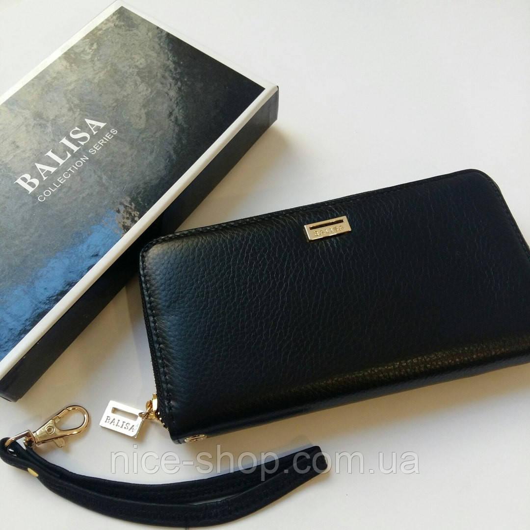 Кожаный кошелёк черный гладкий на змейке, фурнитура-под золото