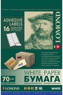 Односторонняя матовая самоклеящаяся универсальная фотобумага на 16 делений, А4, 70 г/м2, 50 листов