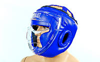 Шлем для единоборств с прозрачной маской FLEX ELAST ZB-5209E-B (синий,красный,черный р-р M-XL)