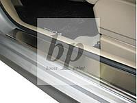 Защитные хром накладки на пороги Nissan Tiida C13 (ниссан тиида 2014+)