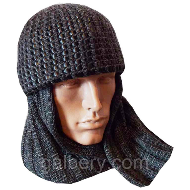 Мужская шапка - шарф (два в одном)