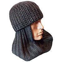 Мужская вязаная зимняя шапка - шарф c элементами кожи цвета антрацит
