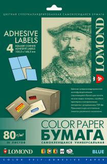 Односторонняя матовая самоклеящаяся универсальная фотобумага на 4 деления, А4, 80 г/м2, 50 листов